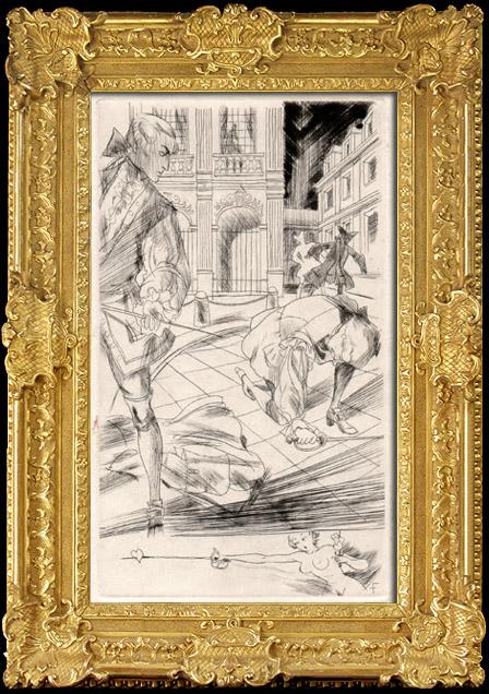 Gravures Anciennes & Dessins   Curiosa - Erotisme - Libertinage - Erotica - Le Marquis de Sade - Le Duel   Héliogravure   1890