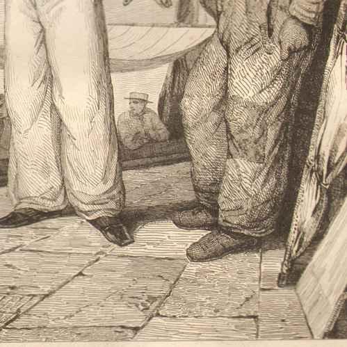 gravures anciennes p che le matelot marins sur le port de dunkerque france gravure en. Black Bedroom Furniture Sets. Home Design Ideas