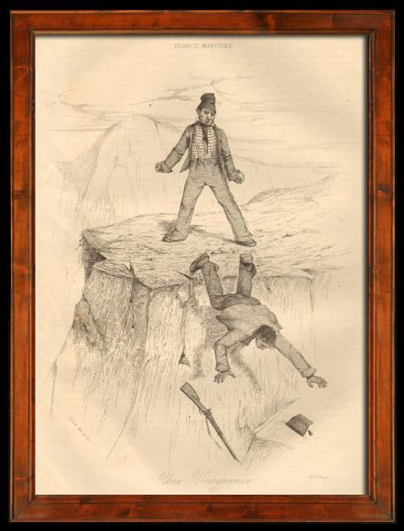 Antique Prints & Drawings   Fishing - Fisherman - Sailor - The Fight - A Revenge - Une Vengeance   Intaglio print   1838