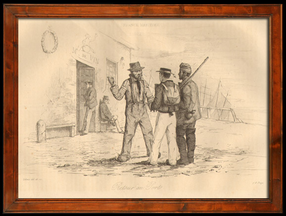 Antique Prints & Drawings   Fishing - Fisherman - Sailors on the Port - Retour au Port   Intaglio print   1838