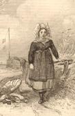 Stampa antica - Costumi Regionali Francesi - Tradizioni e Folclore - Regioni della Francia - Dunkerke (Bazenne)