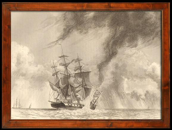 Gravures Anciennes & Dessins | Tempête - Naufrage - Bateau - Voilier - Navire - Vaisseau Français Pris dans une Trombe d'Eau | Taille-douce | 1838
