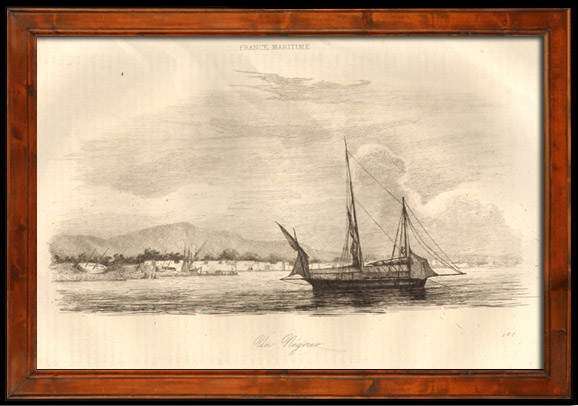 Antique Prints & Drawings | Boat - Sailboat - Vassel - Slavery - Ship for the African Slave Trade - Slave Ship in Africa | Intaglio print | 1838