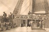 Gravure de Bataille Navale - Navire de Guerre Français - Gaillard d'Arrière d'un Vaisseau de 74