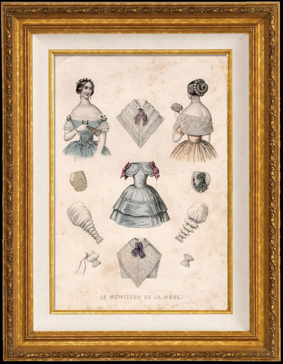 Antique Prints & Drawings | French Fashion Plate - French Fashion Print - Paris - Le Moniteur de la Mode - 20 July 1846 - 20 Dress and Hat | Engraving | 1846