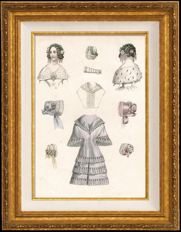 Antique Prints & Drawings   French Fashion Plate - French Fashion Print - Paris - Le Moniteur de la Mode - 30 March 1844 - 20 Dress and Hat   Engraving   1844