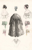 French Fashion Plate - French Fashion Print - Paris - Le Moniteur de la Mode - 30 September 1844 - Hairstyle - Dress and Hat