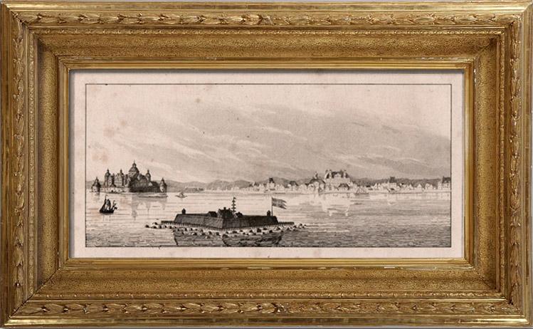 Gravures Anciennes & Dessins | Scandinavie - Port - Forteresse - Vue de Kalmar - Calmar (Suède) | Gravure sur cuivre | 1810