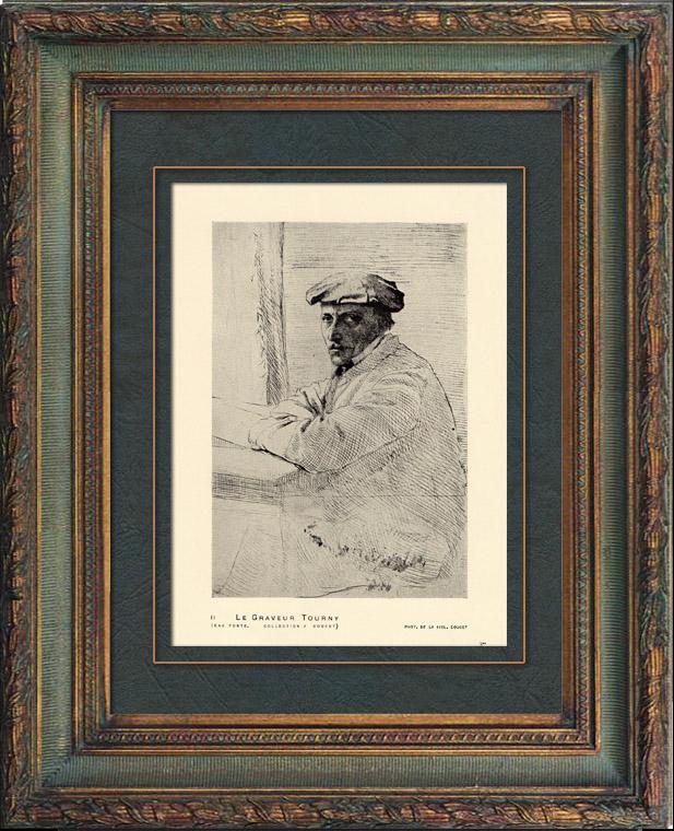 Antique Prints & Drawings | Impressionism - Portrait of the Engraver Joseph Tourny (Edgar Degas - 1856) | Heliogravure | 1911