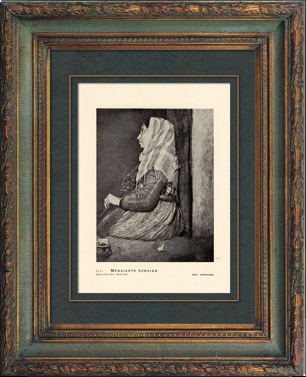 Gravures Anciennes & Dessins | Impressionnisme - Mendiante Romaine (Edgar Degas - 1857) | Héliogravure | 1911