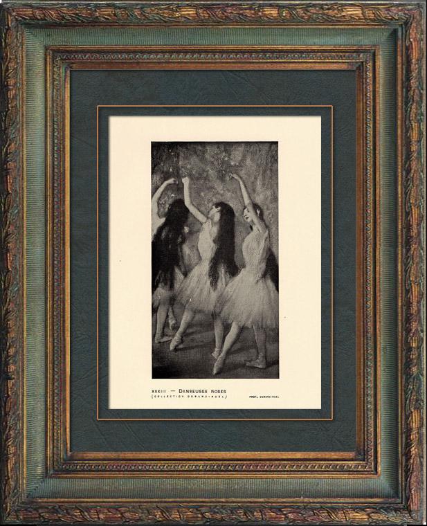 Gravures Anciennes & Dessins | Impressionnisme - Ballet - Danseuses Roses (Edgar Degas - 1878) | Héliogravure | 1911