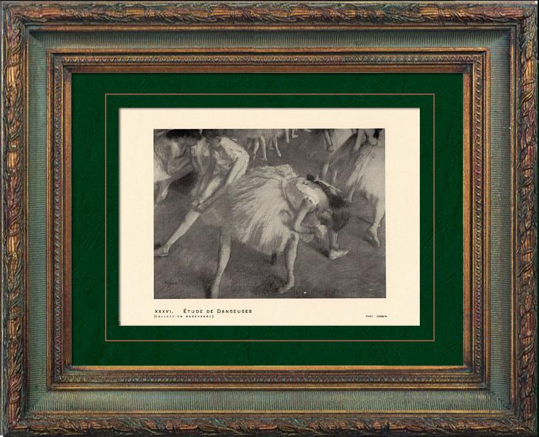 Gravures Anciennes & Dessins | Impressionnisme - Ballet - Etude de Danseuses (Edgar Degas - 1879) | Héliogravure | 1911