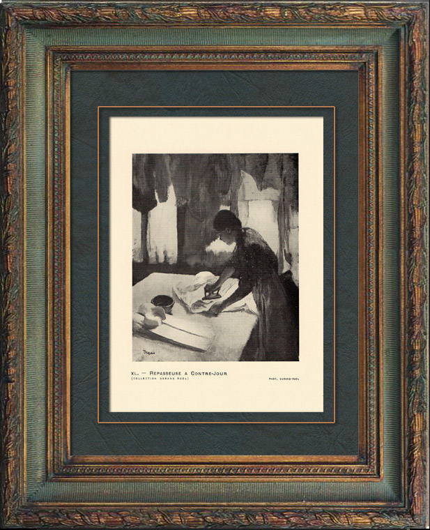 Gravures Anciennes & Dessins | Impressionnisme - Repasseuse à Contre-Jour (Edgar Degas - 1882) | Héliogravure | 1911