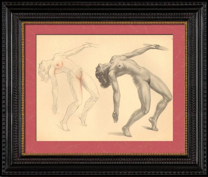 Grabados & Dibujos Antiguos | Desnudo Artístico - Desnudo Femenino - Mujer - Estudio - Christine - Postura 3 | Plancha | 1950