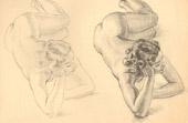 Grabado antiguo - Desnudo Artístico - Desnudo Femenino - Mujer - Estudio - Christine - Postura 10