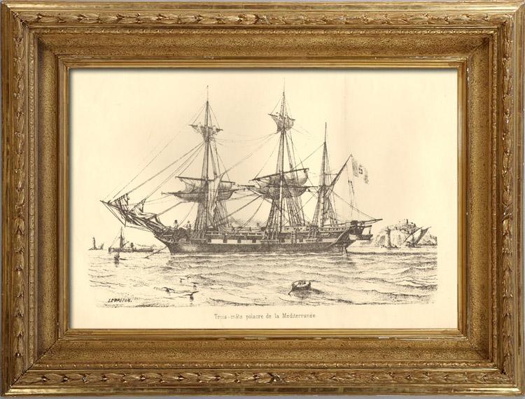 Stampe Antiche & Disegni | Barca a vela - Nave - Bastimento Polacre in Mediterraneo | Litografia | 1940