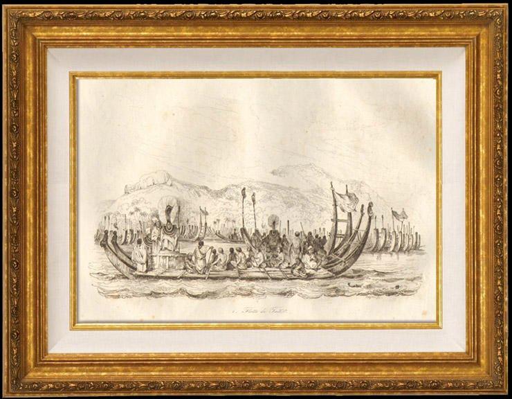 Gravures Anciennes & Dessins   Bateau - Pirogue - Flotte de Tahiti   Taille-douce   1834