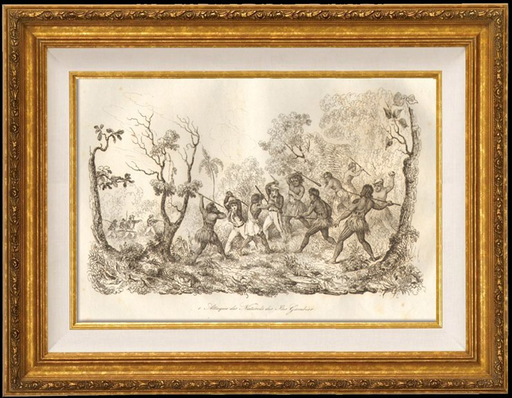 Gravures Anciennes & Dessins   Polynésie Française - Attaque des Naturels des Iles Gambier   Taille-douce   1834