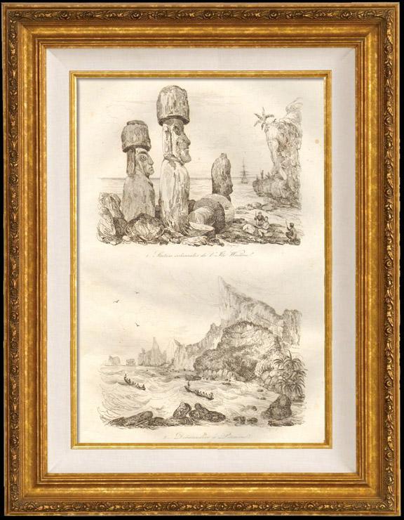 Gravures Anciennes & Dessins | Iles du Pacifique - Île de Pâques - Statues Colossales de l'Ile Waïhou - Débarcadère de Pitcairn | Taille-douce | 1834