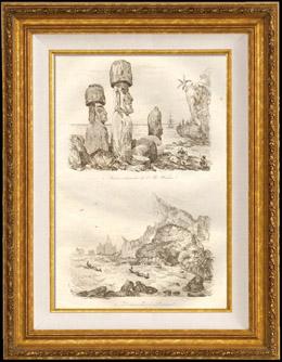 Pazifik Inseln - Osterinsel - Kolossal Steinstatue Wa�hou Insel - Ankerplatz f�r Pitcairn