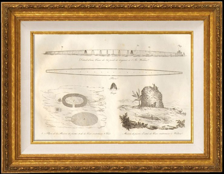 Antique Prints & Drawings | New Zealand - Waïhou Island - House of Stone and Underground Dwelling | Intaglio print | 1834