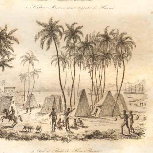 Gravures anciennes kaahou manou reine r gente de hawaii fort de hono rourou gravure en - Certificat d heredite avec porte fort ...