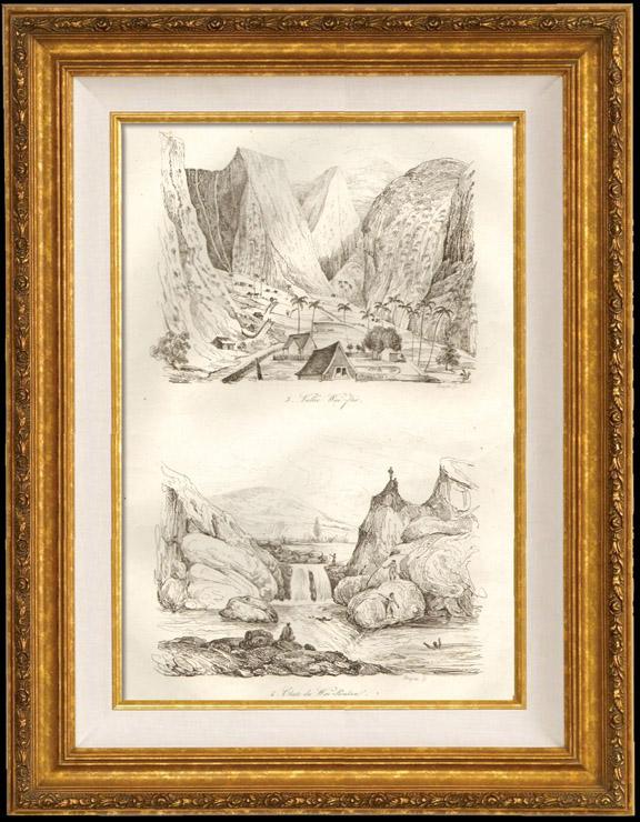 Gravures Anciennes & Dessins | Hawaii - Vallée Waï Rio - Chutes du Waï Roukou | Taille-douce | 1834