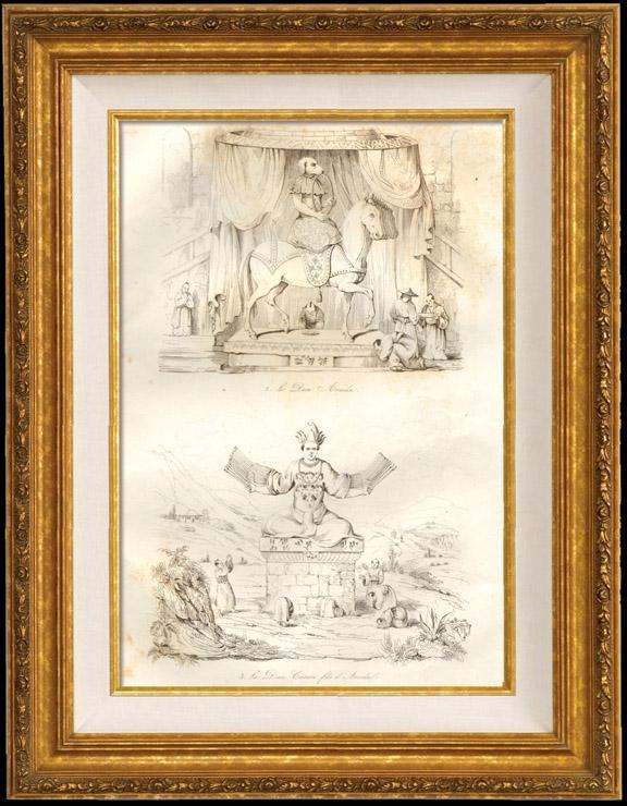Gravures Anciennes & Dessins | Japon - Bouddhisme - Divinité - Le Dieu Amida - Le Dieu Canon Fils d'Amida | Taille-douce | 1834