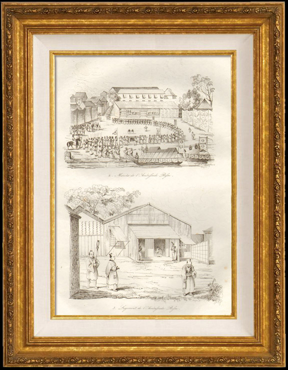 Antique Prints & Drawings   Japan - Russian Embassy   Intaglio print   1834
