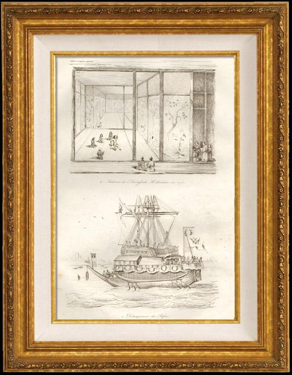 Gravures Anciennes & Dessins | Japon - Audience de l'Ambassade Hollandaise en 1776 - Débarquement des Russes | Taille-douce | 1834