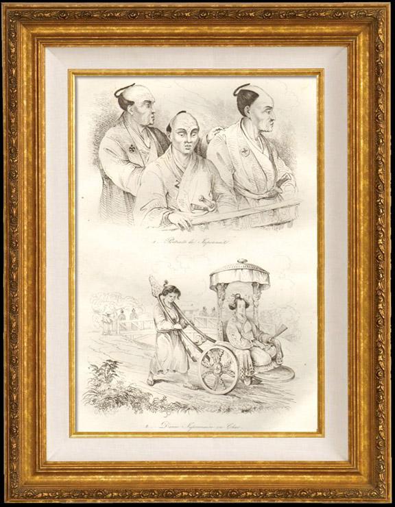 Gravures Anciennes & Dessins | Japon - Portrait de Japonais - Dame Japonaise en Char | Taille-douce | 1834
