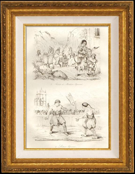 Gravures Anciennes & Dessins | Japon - Famille de Mendiants Japonais - Lutteurs Japonais | Taille-douce | 1834
