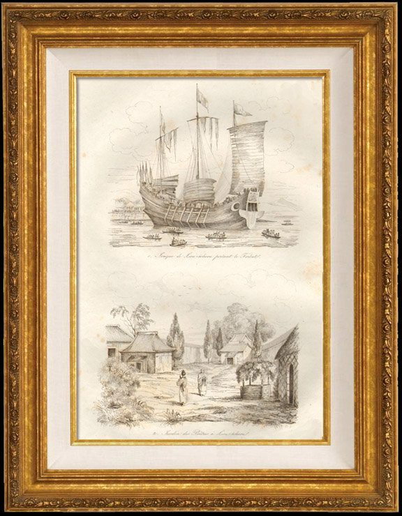 Antique Prints & Drawings | Japan - China - Korea - Junk of Liou Tcheou Bringing the Tribute - Garden of Priests in Liou Tcheou | Intaglio print | 1834