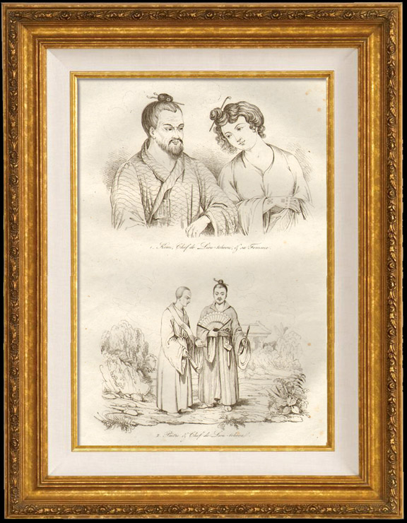 Antique Prints & Drawings | Japan - China - Korea - Komi Chief of Liou Tcheou and his Wife - Priest and Chief of Liou Tcheou | Intaglio print | 1834