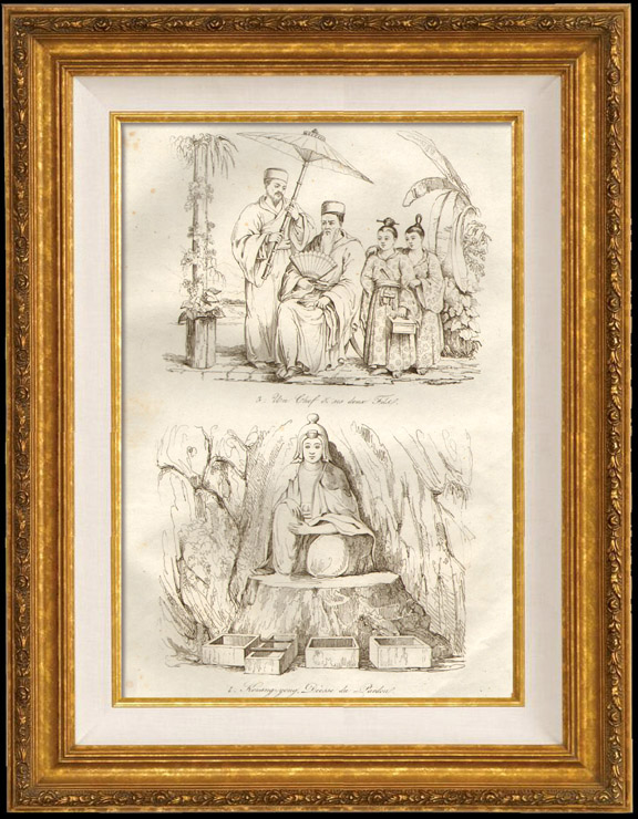 Antique Prints & Drawings   Japan - China - Korea - A chief and his two sons - Kouang Yong Divinity of Pardon   Intaglio print   1834