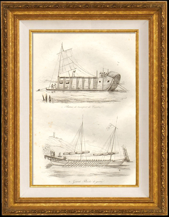 Gravures Anciennes & Dessins   Chine - Bateau de Transport de Canton - Grande Péniche de Guerre   Taille-douce   1834