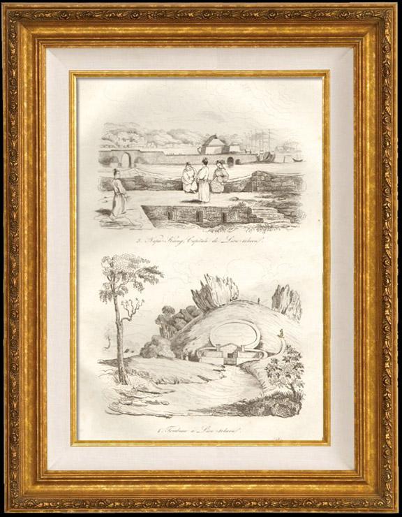 Antique Prints & Drawings | Japan - China - Korea - Napa Kiang Capital of Liou Tcheou - Sepulchre in Liou Tcheou | Intaglio print | 1834