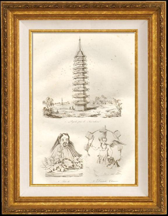 Antique Prints & Drawings   Japan - China - Korea - Pagoda near Liou Tcheou - Fou Hi - Chinese Divinity   Intaglio print   1834
