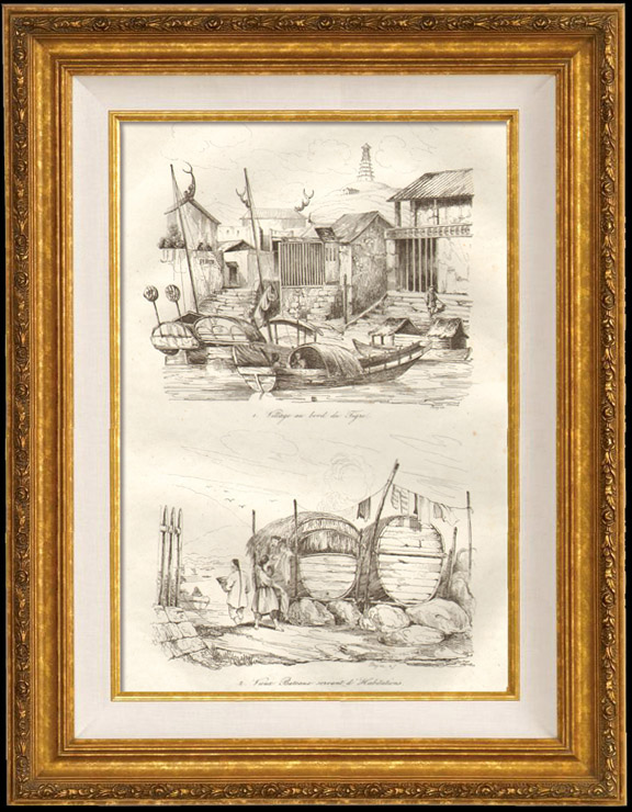 Antique Prints & Drawings | China - Village on the Banks of the Tigris - Old Boats transformed into Dwelling | Intaglio print | 1834