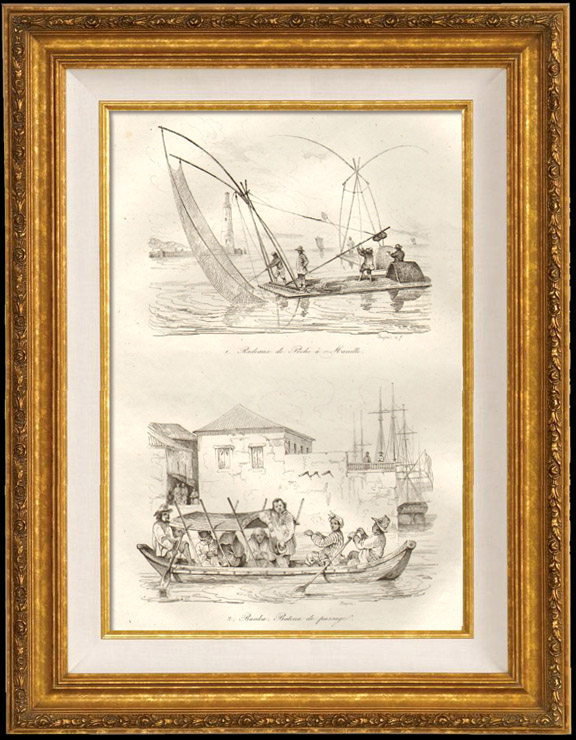 Antique Prints & Drawings | China - Rafts for Fishing in Manila - Banka crossing Boat | Intaglio print | 1834