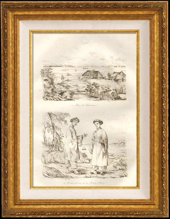 Gravures Anciennes & Dessins | Cochinchine - Baie de Touranne - Cochinchinois de la Haute classe | Taille-douce | 1834