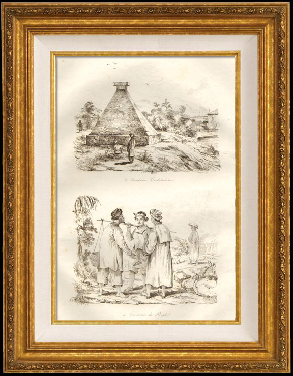 Antique Prints & Drawings | Tomb of Cochinchina - Costumes of People | Intaglio print | 1834