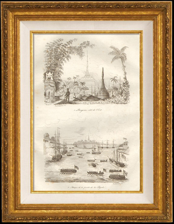 Antique Prints & Drawings | Burma - East side of Yangon - Assault of Pointe de la Pagode | Intaglio print | 1834