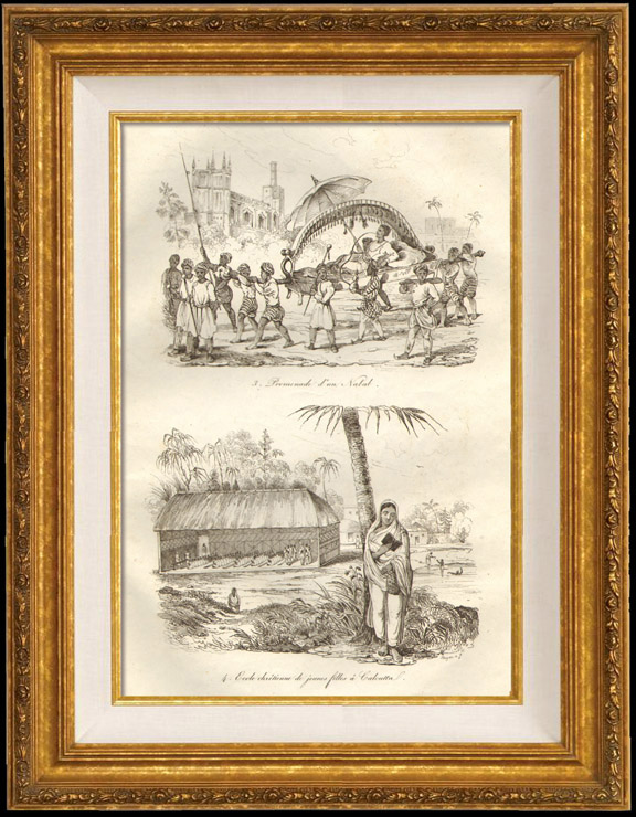 Antique Prints & Drawings   India - Walk of a Nabob - Christian School for Young Girls in Kolkata   Intaglio print   1834
