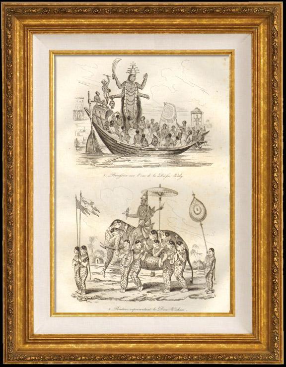 Gravures Anciennes & Dessins | Inde - Procession sur l'Eau de la Déesse Kaly - Peinture représentant le Dieu Krishna | Taille-douce | 1834