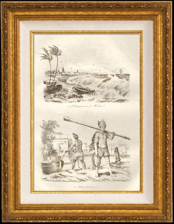Gravures Anciennes & Dessins   Inde - Débarquement à Madras - Paria Batelier   Taille-douce   1834