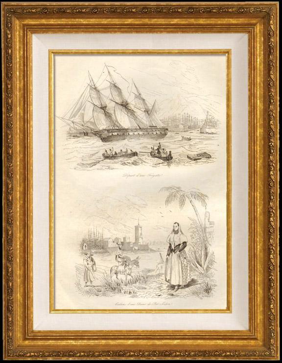 Gravures Anciennes & Dessins | Espagne - Minorque - Îles Baléares - Navire de Guerre - Départ d'une Frégate - Costume d'une Dame de Port Mahon | Taille-douce | 1834