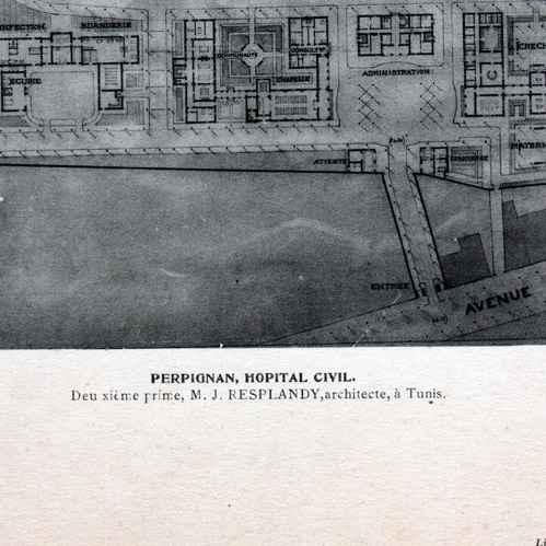gravures anciennes dessin d 39 architecte architecture perpignan h pital civil j. Black Bedroom Furniture Sets. Home Design Ideas
