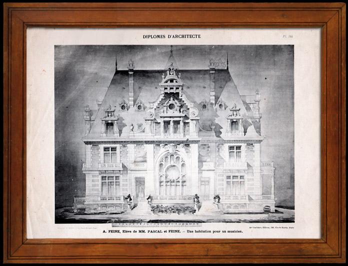 Gravures Anciennes & Dessins | Dessin d'Architecte - Architecture - Habitation pour un musicien (A. Feine) | Héliotypie | 1910