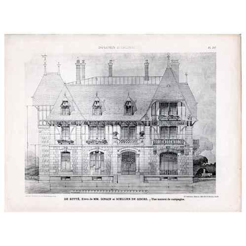 Gravures anciennes gravure de dessin d 39 architecte architecture mais - Dessin maison de campagne ...
